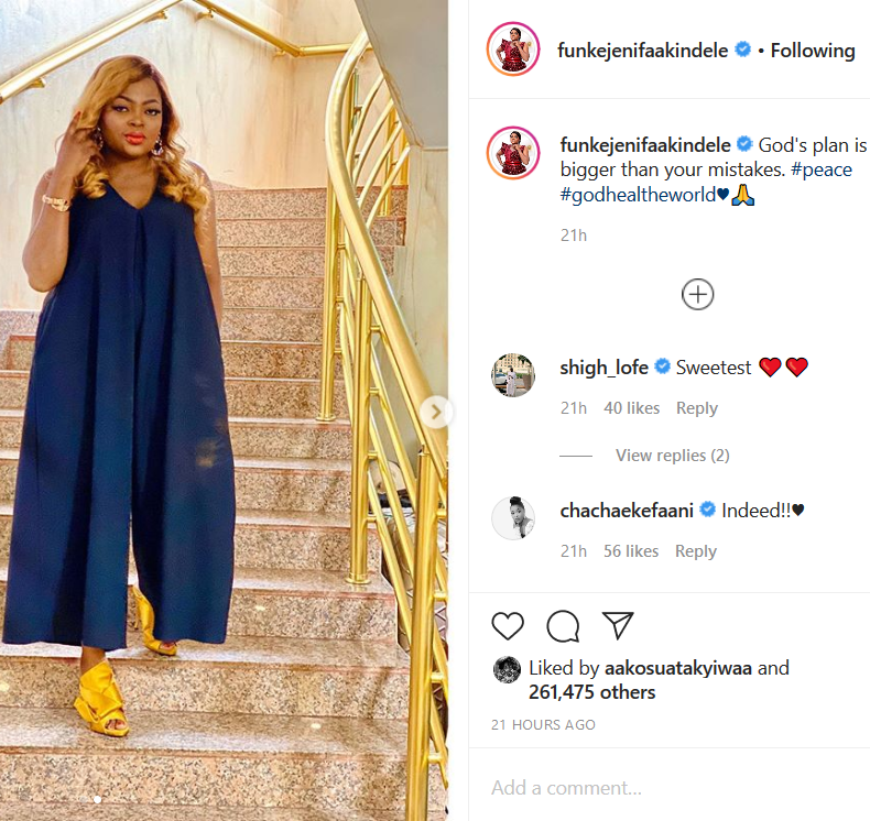 """This image has an empty alt attribute; its file name is Screenshot_2020-04-22-Funke-Akindele-Bello-on-Instagram-""""Gods-plan-is-bigger-than-your-mistakes-peace-godhealtheworld♥️🙏"""".png"""