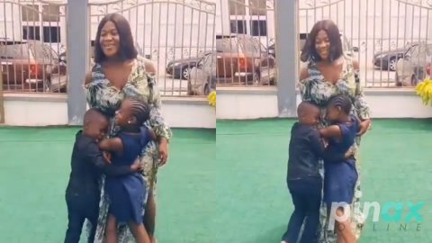 Video: Mercy Johnson's kids welcome her back home from the Hospital in a grand style after she gave birth to Baby Number four
