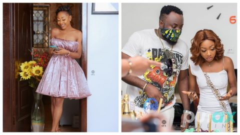 Akuapem Poloo and DKB kiss each other passionately at her birthday party.