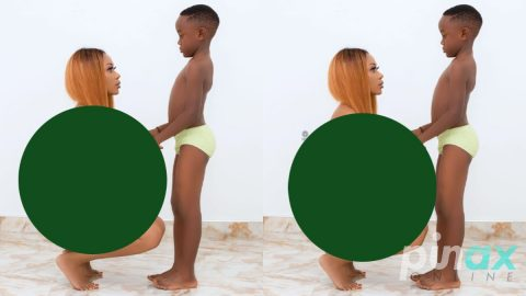 Photo: Akuapem Poloo goes Naked in front of her son just to celebrate his Birthday.