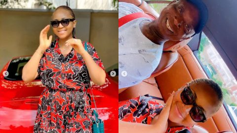 Couple goals: Regina Daniels showers Ned Nwoko with Love as they step out with their son.