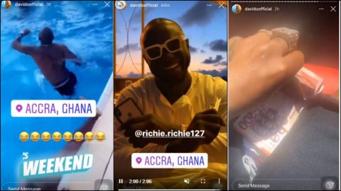 Video Of Davido Chilling With His Crew At A Coded Location In Ghana As He Shows Off Bundles Of 200 Cedis Notes Goes Viral