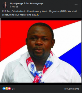 Just In: NPP youth Organizer for Odododiodo constituency is dead 2