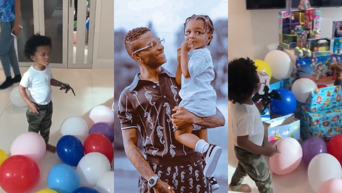 Video: Zion Ayo froze after seeing the gifts Wizkid got for him on his 3rd  birthday