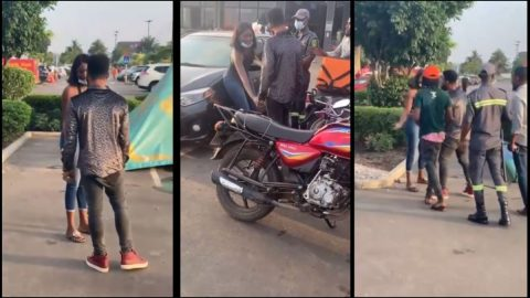 """Video Of Ghanaian Singer """"Yoma"""" Disgracing Her Boyfriend At Accra Mall For Stealing Her Money Goes Viral"""