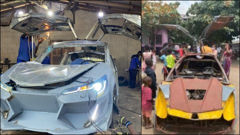 Photos: Ghanaians React As Kantanka Automobile Copies The Design Of 18-Year-Old JHS Graduate Who Built His Car From Scrap Metals