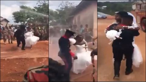 Video: Ghanaian Fire Service Wedding Goes Viral As Couple Get Blasted With Water By His Colleagues