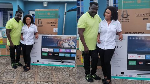 Koo Fori in Tears after McBrown Suprise with Hisense TV, AC, after House Burnt down..