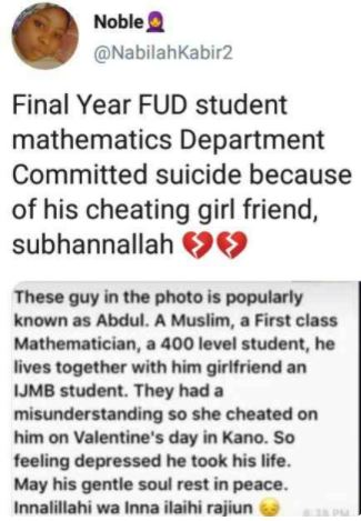 Level 400 student k!lls himself after his girl left him to spend valentine with another man (photos) 2