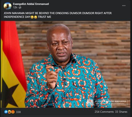 'John Mahama could be behind the recent Dumsor that hit the whole Country'- Evangelist Addai 3