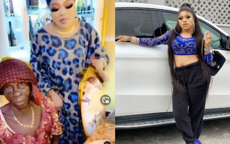 Bobrisky welcomes a poor old lady into her mansion and changed her life forever. 2