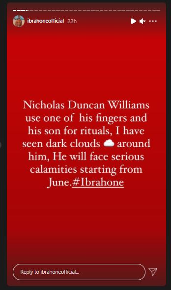 Screenshot: Nicholas Duncan Williams Used One Of His Fingers And His Son For Rituals – Ibrah One Makes Serious Allegation Against The Man Of God