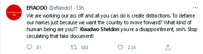Efia Odo drags Kwadwo Sheldon into the Mud for sharing a document alleging that Mahama is Funding #TheFixCountry Protest