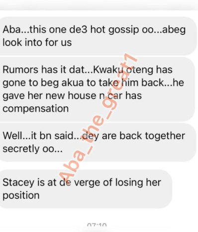 Hot Gossip!: Dr. Kwaku Oteng Allegedly Begged Akua GMB For A Come Back + Bought Her A House And Car As Stacey Amoateng Suffers Dismissal